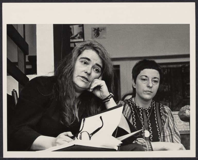 Kate Millett with the Woman's Salon co-founder Gloria Orenstein (right)