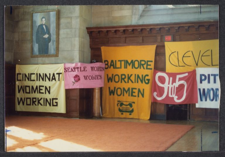 9 to 5 Banners at the 3rd annual Working Women's Summer School,  1981