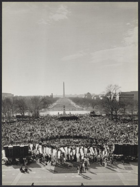 View from above of Washington, D.C. mall during women's rights event (1985)