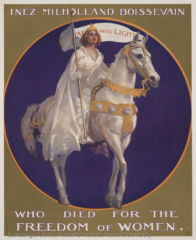 Poster depicting Inez Milholland Boissevain dressed in white, riding a white horse.