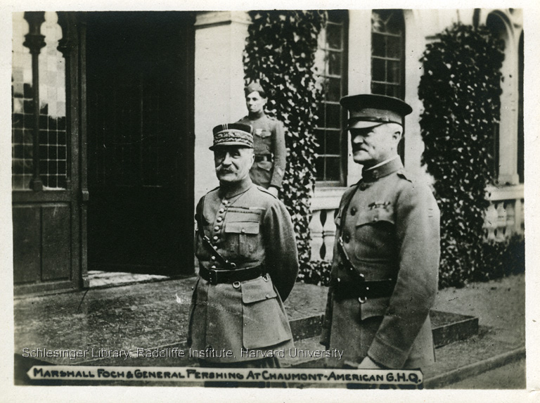 Marshall Foch, General Pershing, and an unidentified officer standing outdoors at American headquarters in France