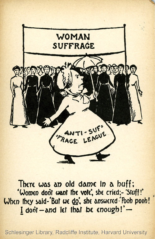 "1910 Postcard: There was an old dame in a huff: 'Women don't want the vote,' she cried; - ""Stuff!' When they said -'But we do', she answered - 'Pooh pooh! I don't - and let that be enough'"
