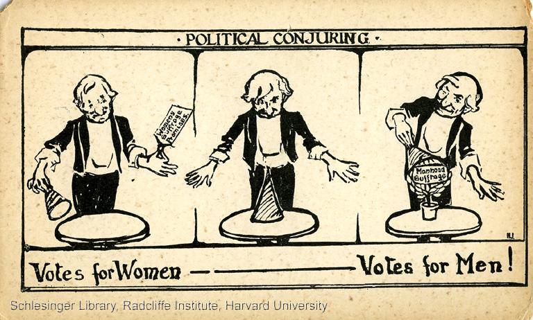 1910  Postcard: Political Conjuring. Votes for women (empty hat) ----- Votes for men (full hat)!!