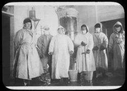 Disinfection room and part of Russian staff, Harbin