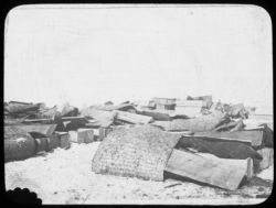 Coffins before stacking for cremation