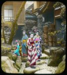 Group of females (dressed in kimonos) in garden. (Etz-Trudell collection of hand-colored lantern slides of Japan). olvwork370964