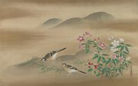 Two Java Sparrows Amid White and Pink Bell Flowers