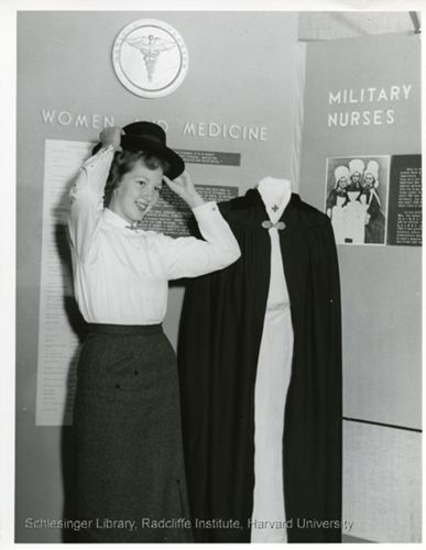 Portrait of Barbara Ann Jetland wearing a nurses's hat from World War I.