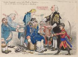 Doctor Sangrado curing John Bull of repletion