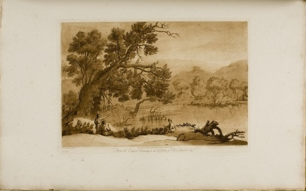 View On The Bank Of A River, An Artist (Claude) Drawing