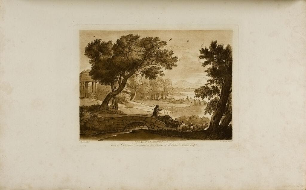 A Study, Man And Sheep Crossing A Bridge
