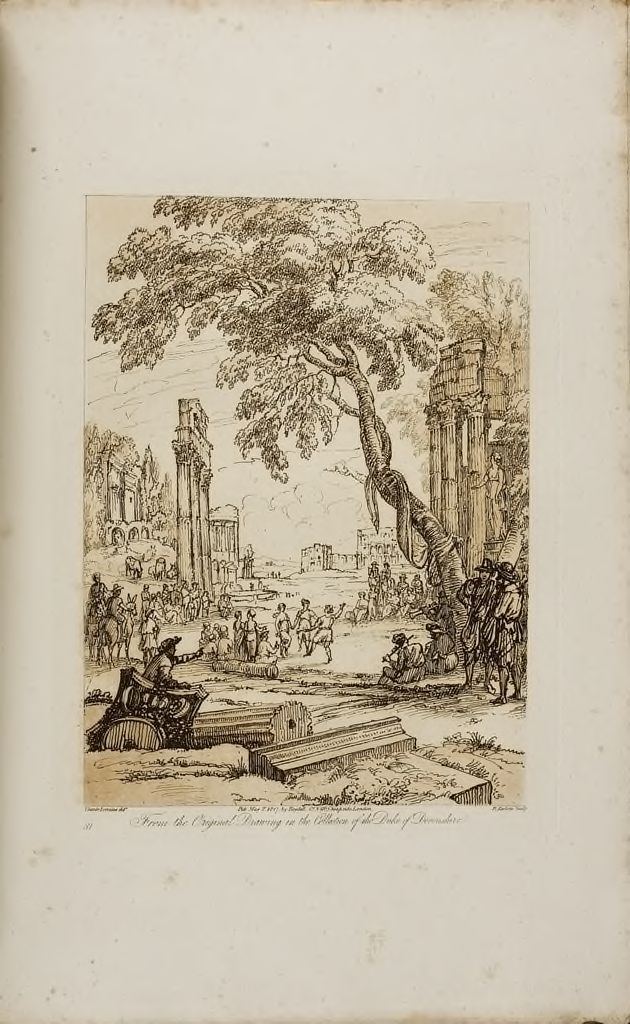 Landscape, With Ruins And Peasants Dancing