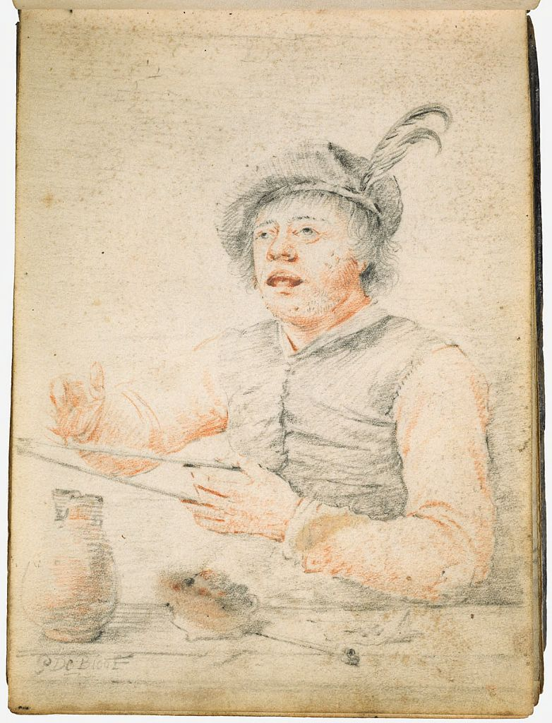 Seated Smoker Holding Tongs; Verso: Blank Page