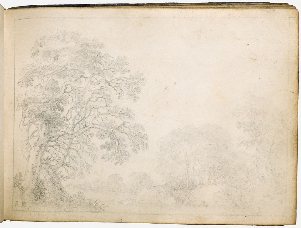 Wooded Landscape; Verso: Blank Page