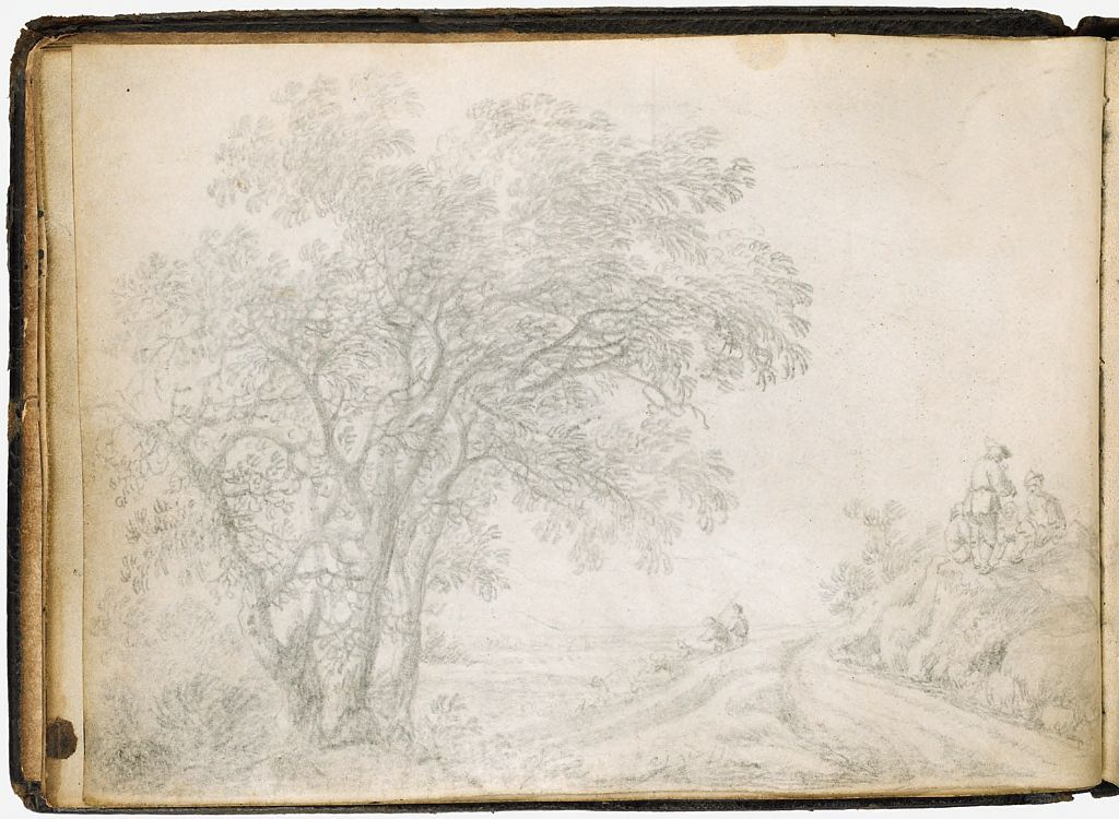 Blank Page; Verso: Landscape With A Tree, Peasants, And Travelers