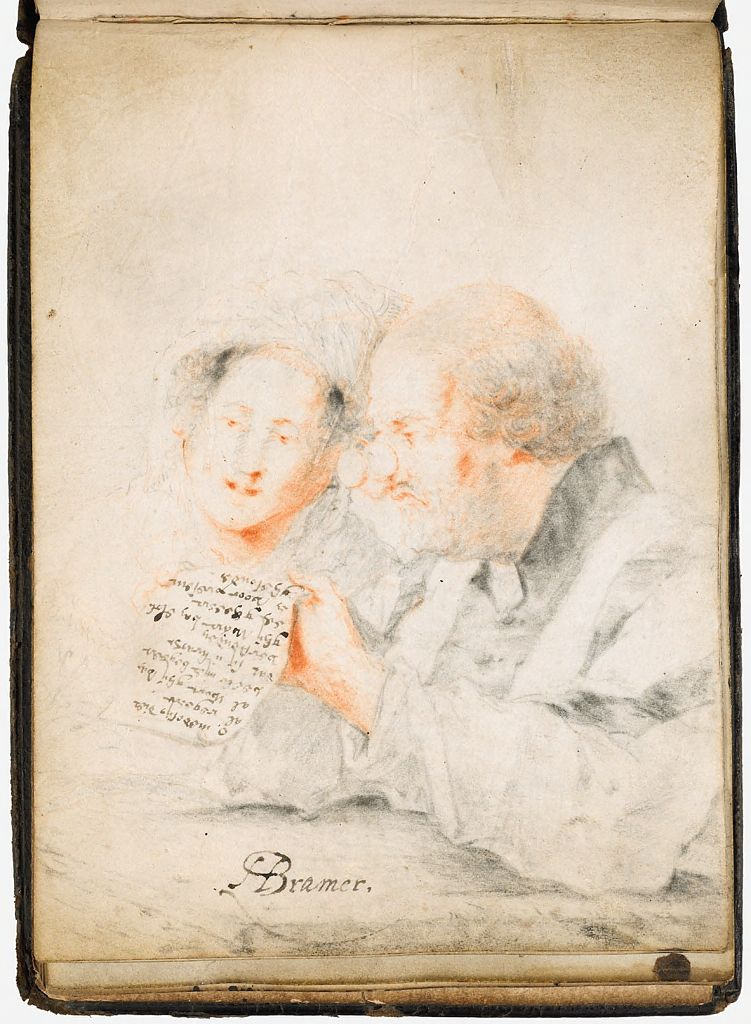 Blank Page; Verso: Couple Reading A Poem Or Singing A Song