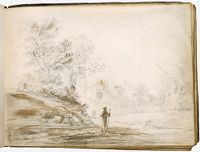 A Monk With A Staff Walking In A Landscape