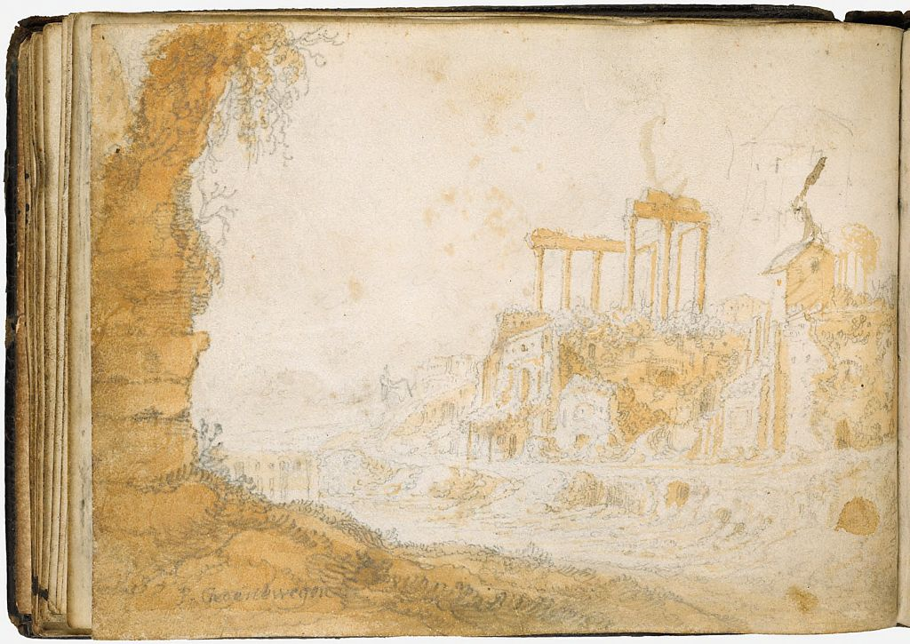 Blank Page; Verso: Italianate Landscape With Ancient Ruins