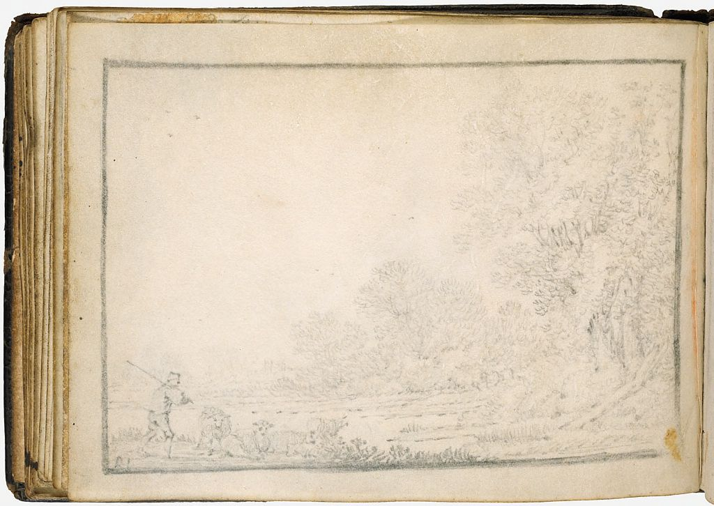 Illegible Sketch; Verso: Landscape With A Shepherd And His Flock