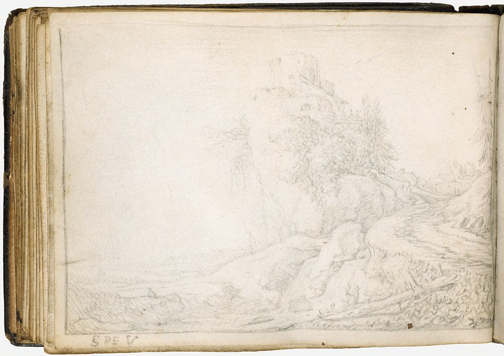 Blank Page; Verso: Landscape With Tower Ruin On A Rock Promontory