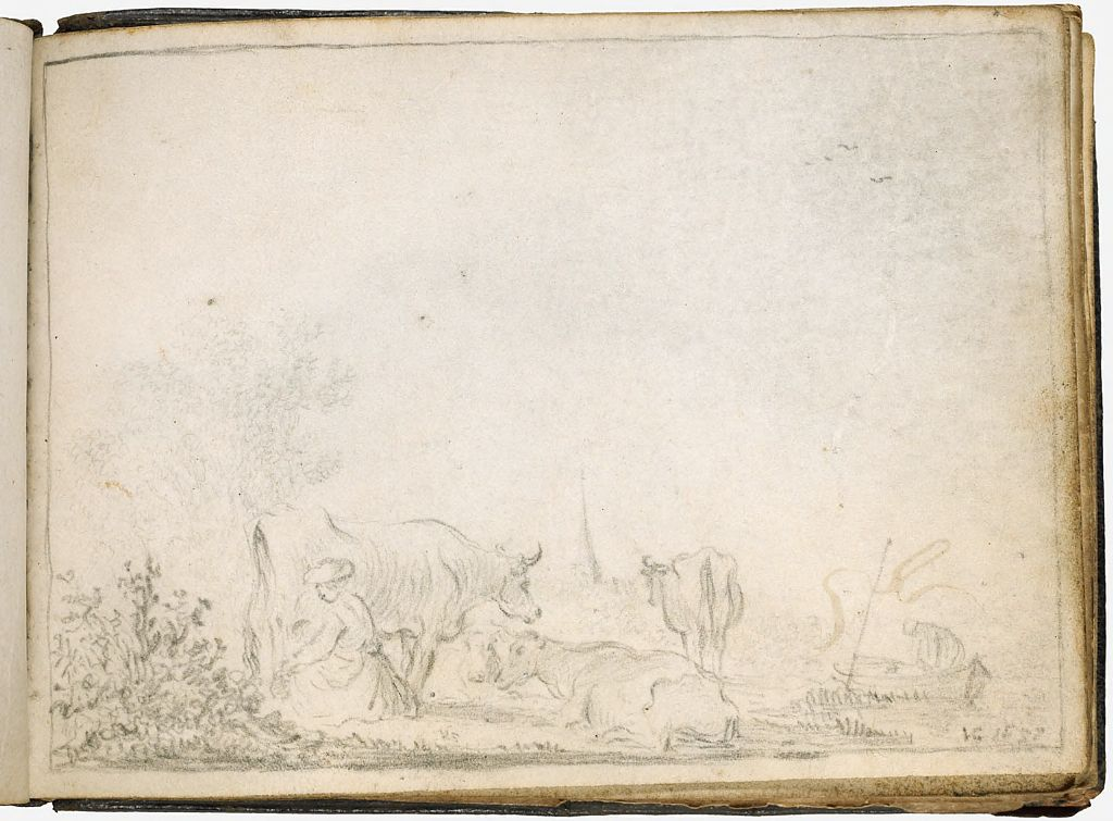 Landscape With A Milkmaid; Verso: Illegible Mark