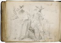 Blank Page; Verso: Two Men Smoking And Drinking