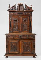 Two-Tiered Cabinet With Relief Decorations
