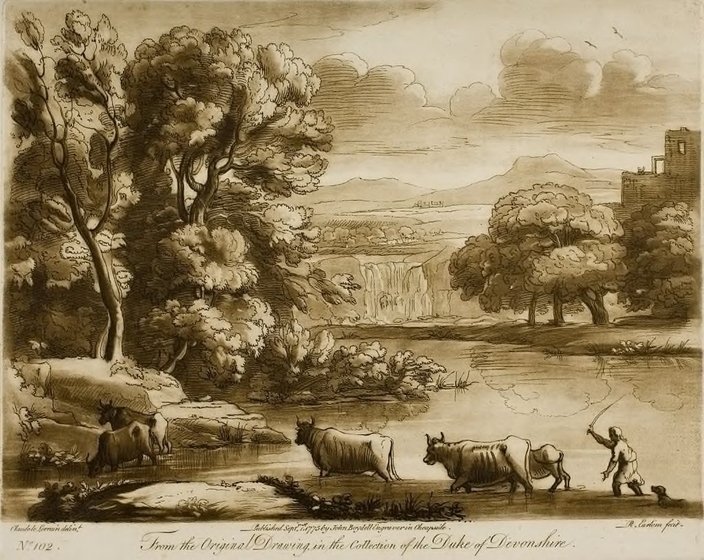 Landscape, With Cattle Passing A Ford