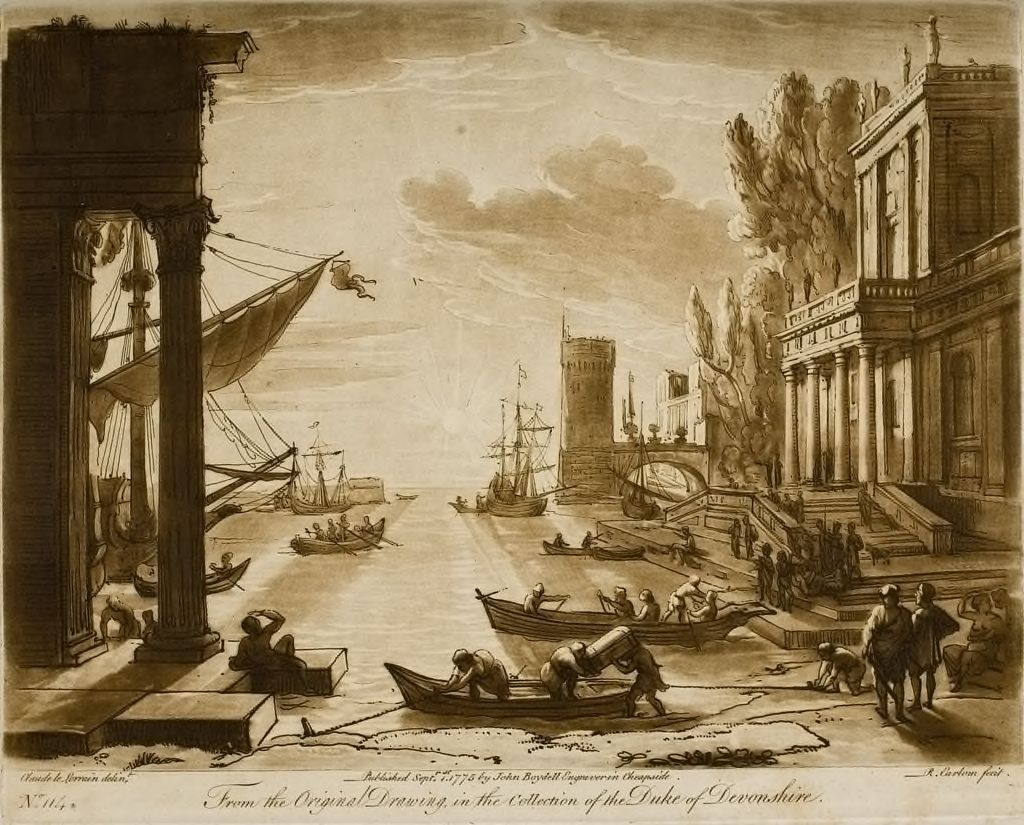 View Of A Seaport, With Buildings (And A Strong Effect Of The Sun)