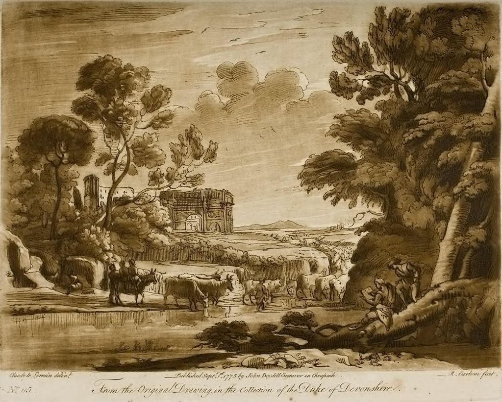 A Landscape, With Peasants And Cattle (The Colosseum And The Arch Of Septimius Severus Are Seen In The Distance.  Claude Himself Also Is Represented Drawing.)