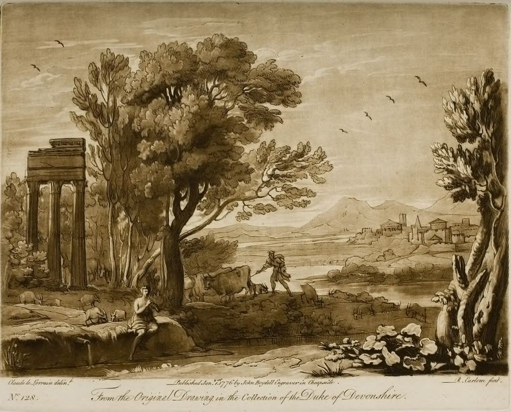 A Landscape, With The Three Columns Of Jupiter Stator, And The Story Of Mercury And Battus