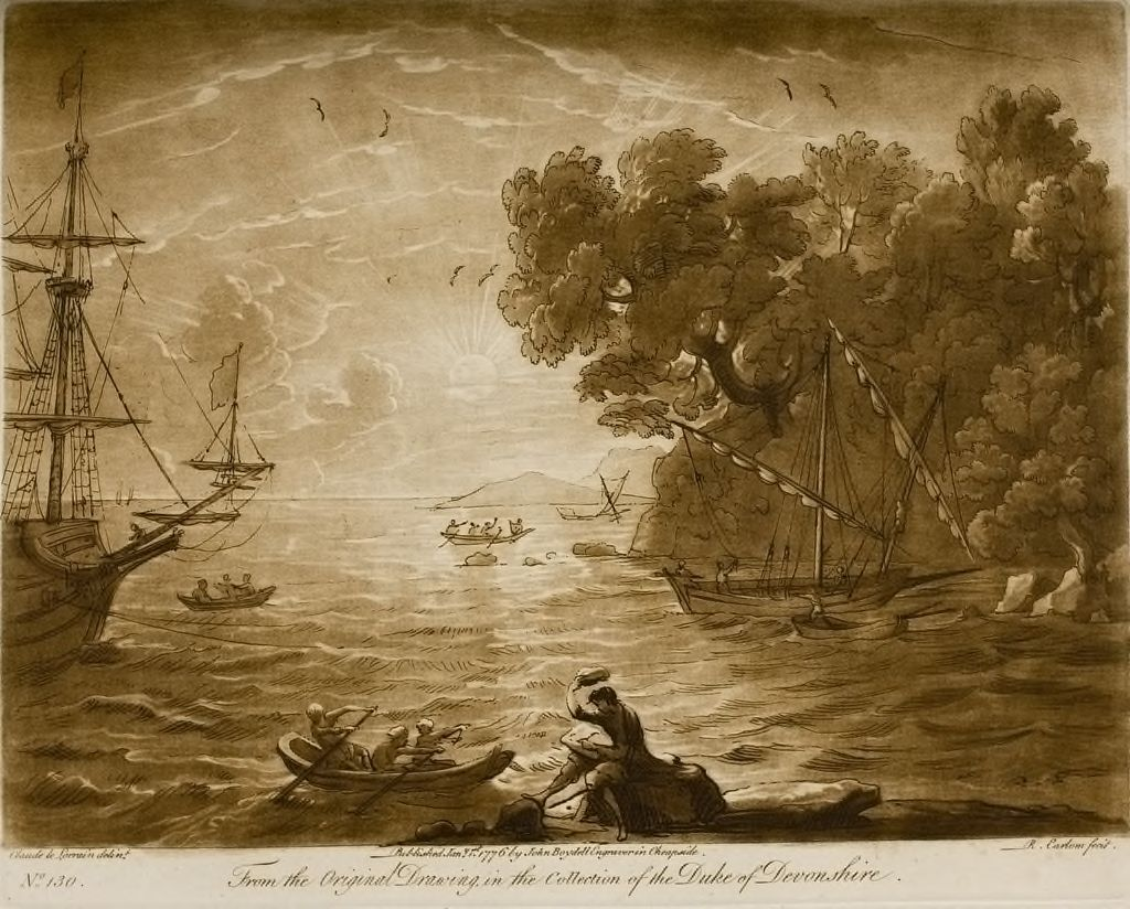 A View Of The Sea, With An Effect Of The Sun, And Claude Himself Is Seen Drawing On The Shore