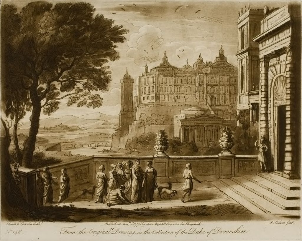 View From The Inside Of A Garden, With Magnificent Buildings, And With The Story Of Queen Esther