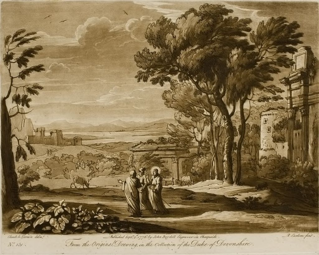 A Landscape, With Buildings, And Christ And His Disciples Going To Emmaus