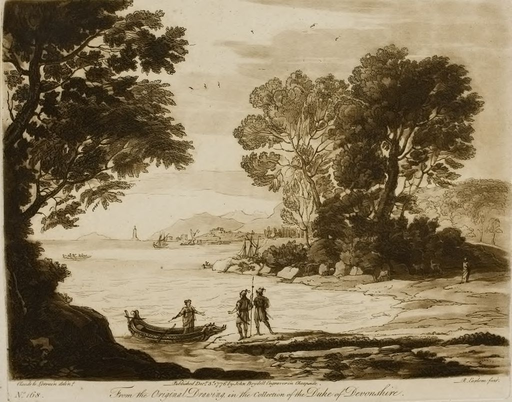 A Landscape, By The Seaside , With The Story Of Carlo And Ubaldo Embarking In Pursuit Of Rinaldo