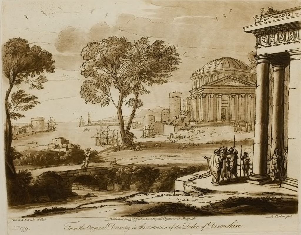A Landscape, With Magnificent Buildings, And A View Of The Sea