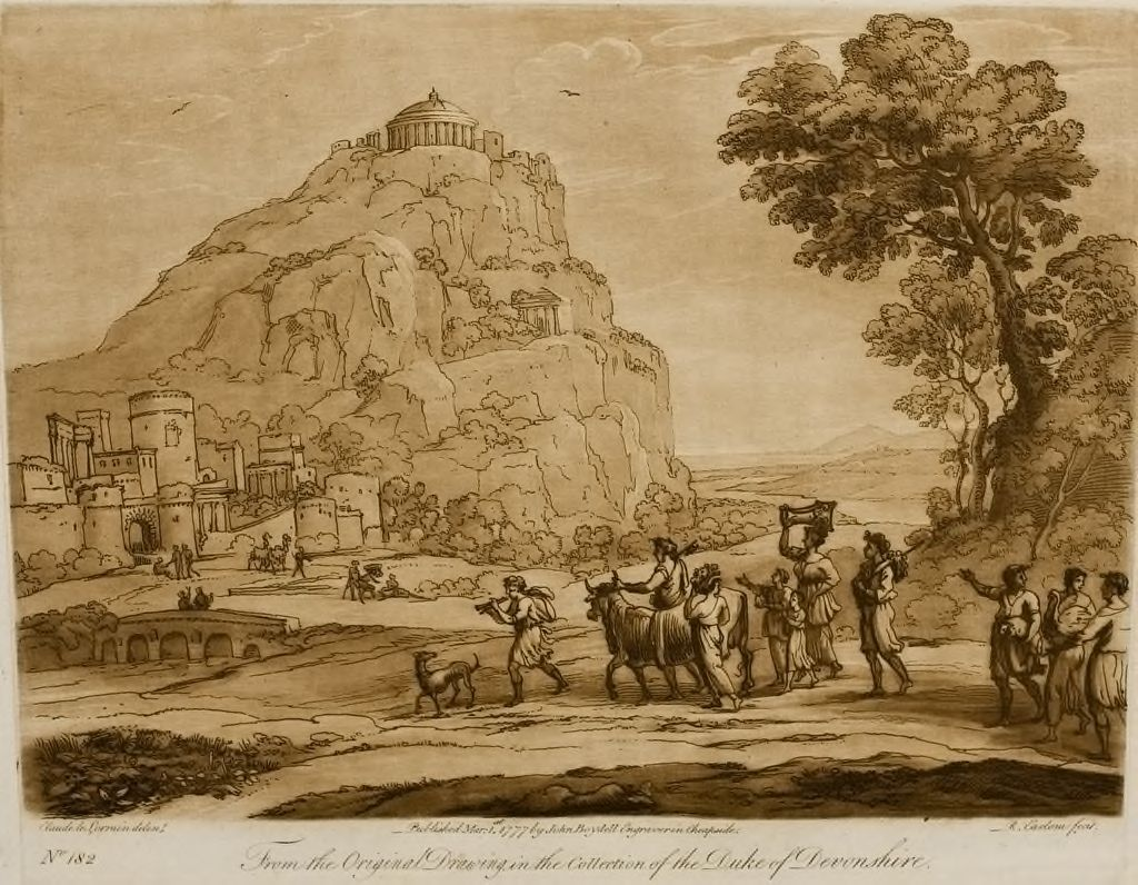 A Landscape, With A Steep Hill And Buildings On The Summit, And A Procession With Victims