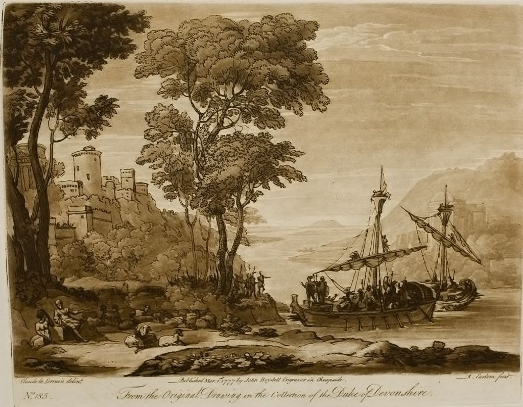 View Close To The Sea, And A Vessel Filled With Warriors Approaching The Shore, The Story Of The Landing Of Aeneas In Italy