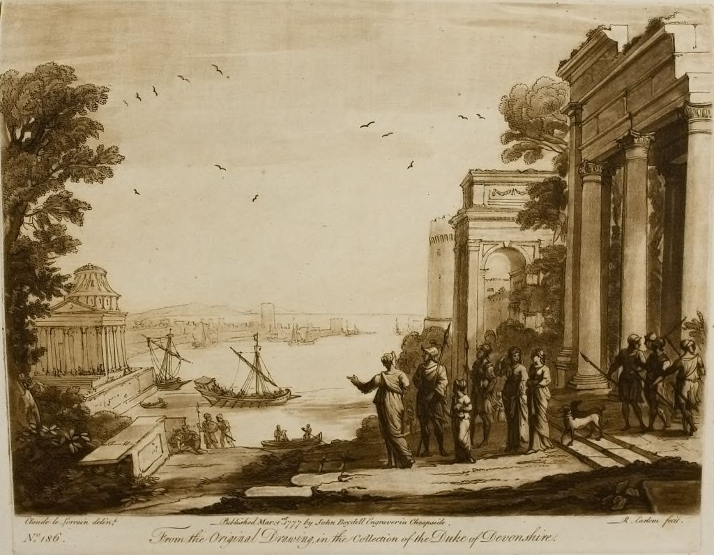 View Of The Sea, With Buildings And Many Figures