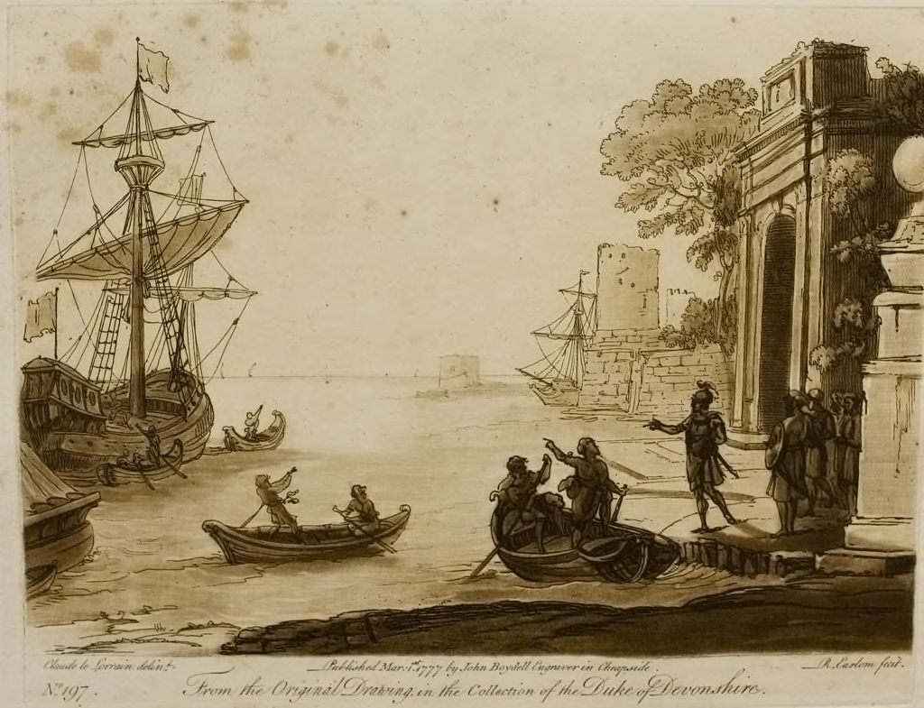View Of A Seaport, With A Triumphal Arch