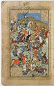 Battle Scene (Painting, Recto), Text (Verso), Illustrated Folio (83) From A Manuscript Of The Timurnama By Hatifi