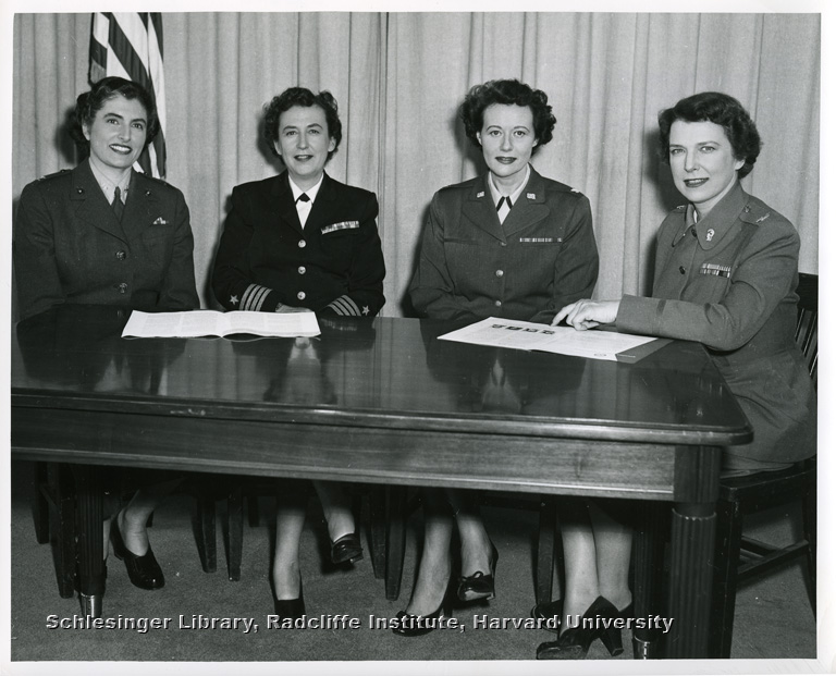 Seated portrait of the directors of four of the Women's Services branches: Julia E. Hamblet, Louise K. Wilde, Phyllis D. Gray and Irene O. Galloway.