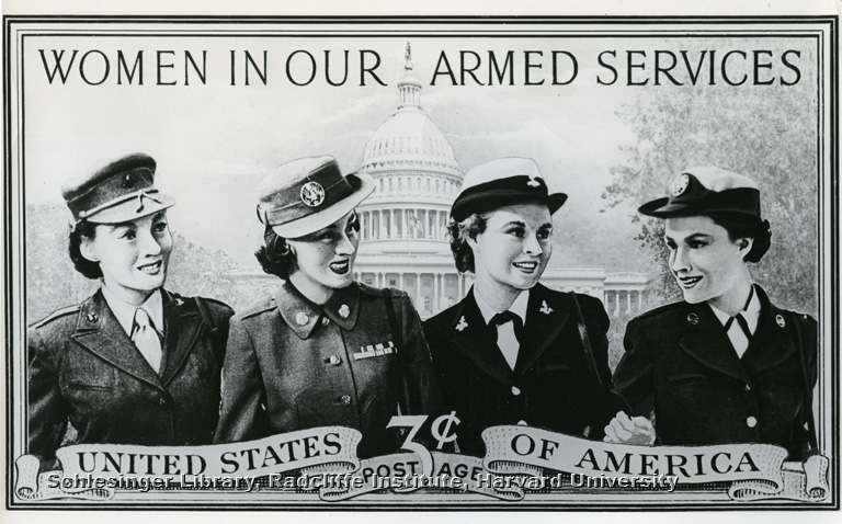 Enlargement of the three-cent stamp issued to honor women in the military services