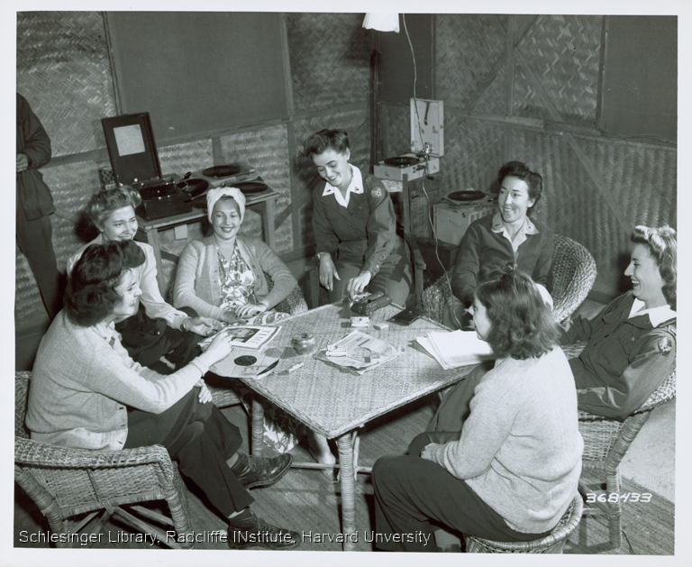 Group of off-duty nurses socializing while serving in India
