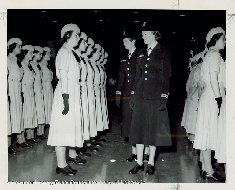 Naval Officers reviewing ranks