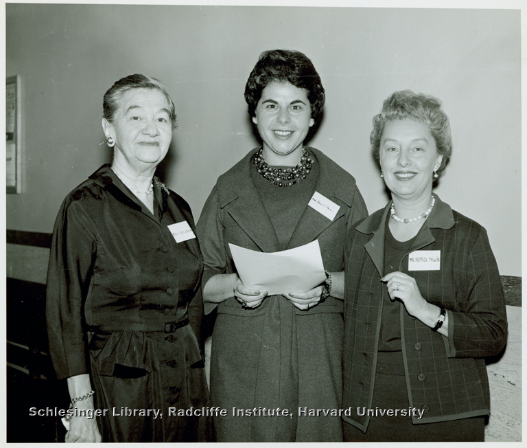 Portrait of Ethel Cohen, Bess Dana, and Beatrice Phillips at Beth Israel Hospital Social Services Dept.