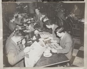 Students in Lowell House dining room, [photograph], Digital Object