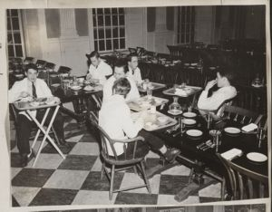 Student waiters in Lowell House dining room, [photograph], Digital Object