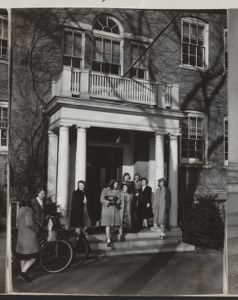 Radcliffe girls on the steps of Fay House, [photograph], Digital Object